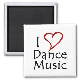 Amo música de danza imán cuadrado