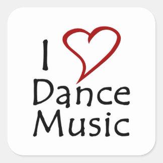 Amo música de danza pegatina cuadradas personalizada
