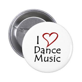 Amo música de danza pin redondo de 2 pulgadas