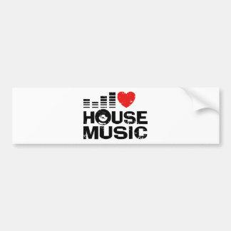 Amo música de la casa etiqueta de parachoque