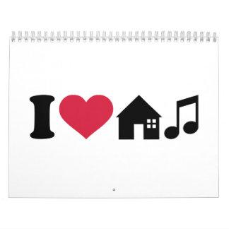 Amo música de la casa calendarios