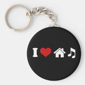 Amo música de la casa llavero redondo tipo pin