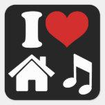 Amo música de la casa calcomanía cuadrada personalizada