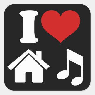 Amo música de la casa pegatina cuadrada