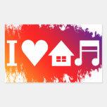 Amo música de la casa pegatina rectangular