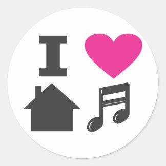 Amo música de la casa pegatina redonda