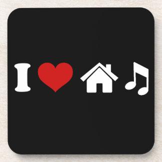 Amo música de la casa posavasos de bebidas