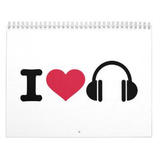 Amo música de los auriculares calendario