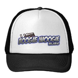 Amo música de los AZULES de Woogie de la boogie Gorros