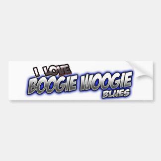 Amo música de los AZULES de Woogie de la boogie Pegatina Para Auto
