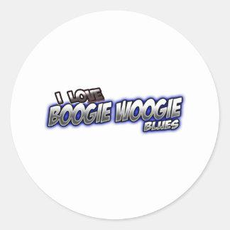 Amo música de los AZULES de Woogie de la boogie Pegatina Redonda