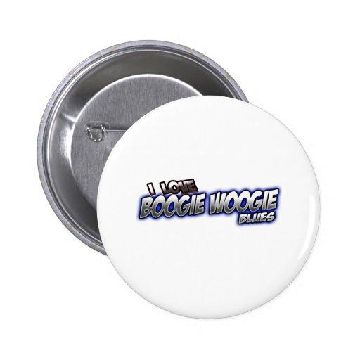Amo música de los AZULES de Woogie de la boogie Pin Redondo 5 Cm