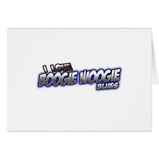 Amo música de los AZULES de Woogie de la boogie Tarjeta De Felicitación