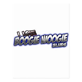 Amo música de los AZULES de Woogie de la boogie Tarjeta Postal