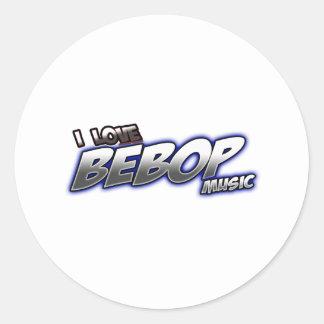 Amo música del BeBOP Pegatina Redonda