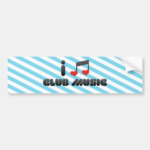 Amo música del club etiqueta de parachoque