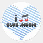 Amo música del club etiquetas redondas