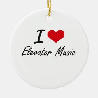 Amo música del elevador adorno navideño redondo de cerámica