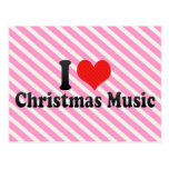 Amo música del navidad tarjeta postal