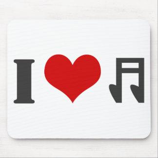 Amo música. Diseño rojo del corazón Alfombrillas De Ratones