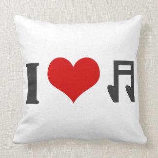 Amo música. Diseño rojo del corazón Cojin