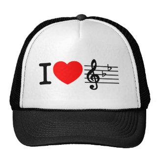 Amo música. Diseño rojo del corazón Gorra