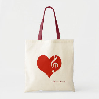 amo música/el corazón rojo bolsa tela barata