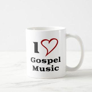 Amo música gospel taza básica blanca