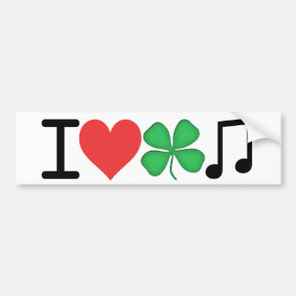 Amo música irlandesa etiqueta de parachoque