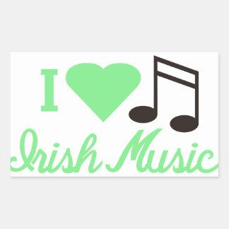 Amo música irlandesa pegatina rectangular