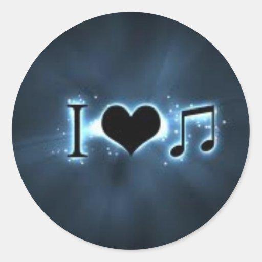 amo música pegatina redonda