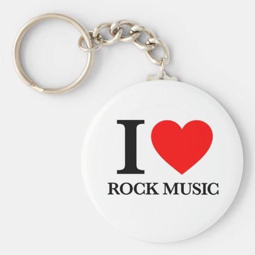 Amo música rock llaveros