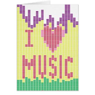 Amo música tarjeta de felicitación