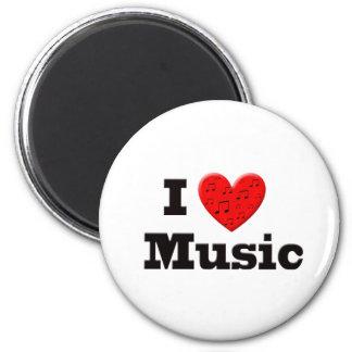 Amo música y el corazón imán de frigorífico