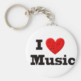 Amo música y el corazón llavero redondo tipo pin