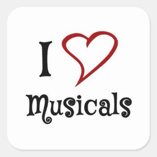 Amo Musicals Pegatina Cuadrada