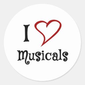 Amo Musicals Pegatina Redonda