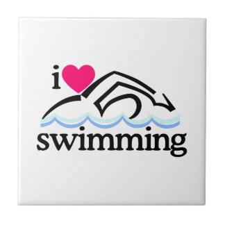 Amo nadar/nadador azulejo cuadrado pequeño
