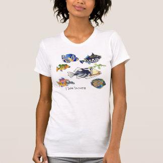Amo nadar pescados del dibujo animado camisetas