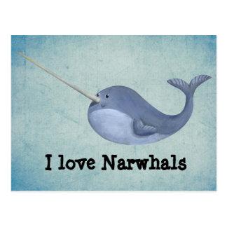 Amo Narwhals Tarjetas Postales