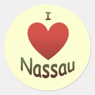 Amo Nassau Pegatina Redonda