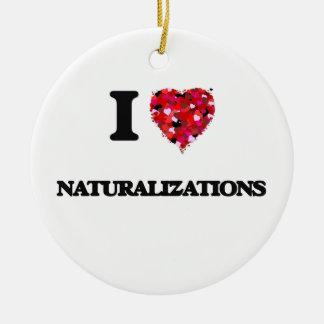 Amo naturalizaciones adorno navideño redondo de cerámica