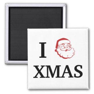 Amo navidad (del corazón) con Santa Imán Cuadrado