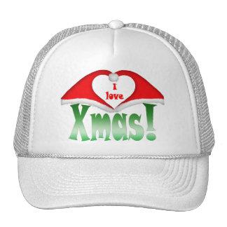 ¡Amo Navidad! Navidad 2 que forma un corazón Gorras De Camionero