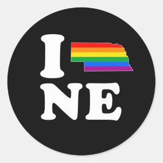 AMO NEBRASKA GAY - BLANCO - .PNG PEGATINA REDONDA