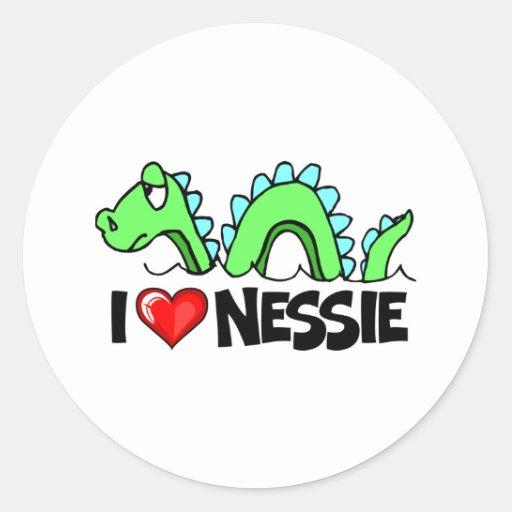 Amo Nessie Pegatinas Redondas