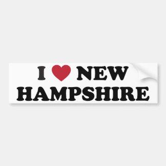 Amo New Hampshire Etiqueta De Parachoque