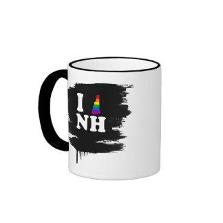 AMO NEW HAMPSHIRE GAY - BLANCO - .PNG TAZA DE CAFÉ