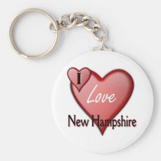 Amo New Hampshire Llavero Redondo Tipo Pin