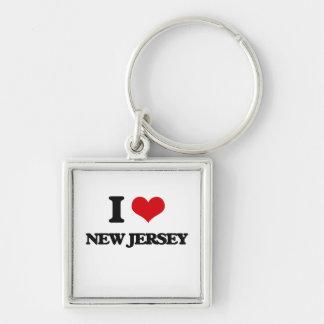 Amo New Jersey Llavero Cuadrado Plateado